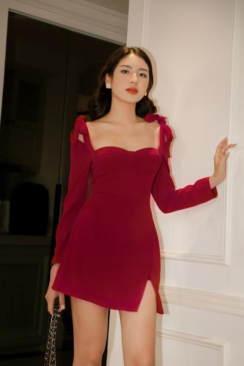 Đầm Cúp Cột Nơ Màu Đỏ