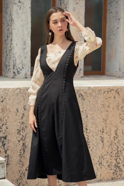 Đầm Yếm Đen Phối Ren