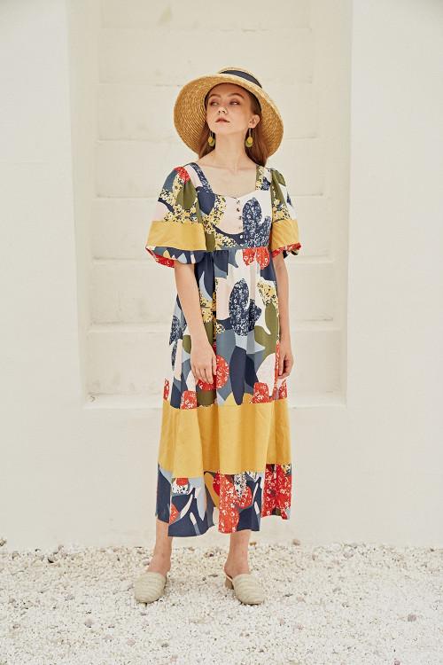 Đầm Maxi Cổ Vuông Tay Bí Vải Phối Nhiều Màu