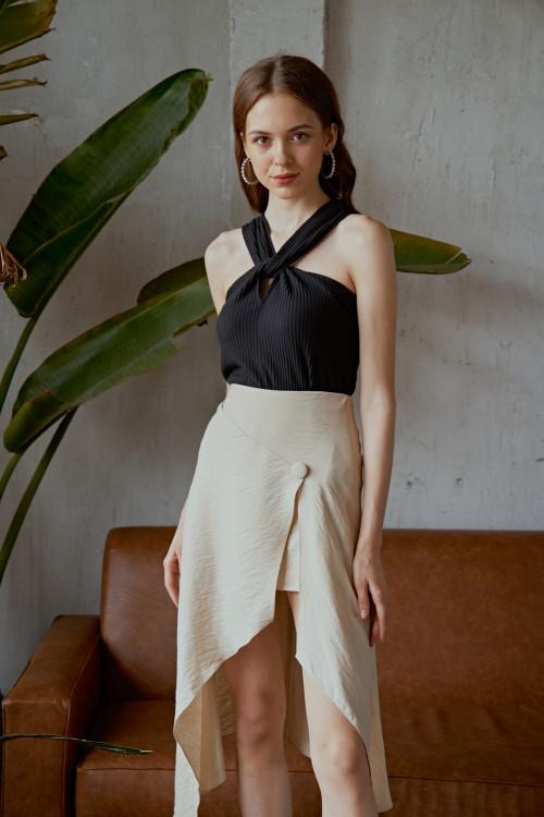 Chân Váy Vạt Chéo Màu Kem Đính Nút