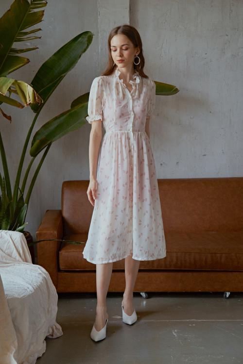Đầm Voan Kem Hoa Nhí