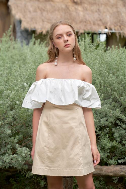 Đầm Kaki Kem Bẹt Vai Trắng Rã 6 Mảnh