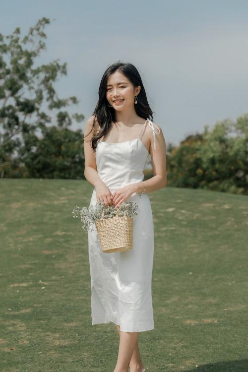 Đầm Dây Kaki Trắng Cúp Ngực