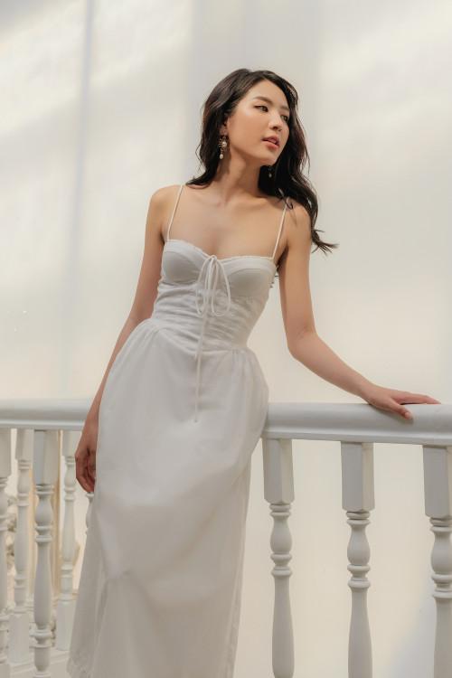 Đầm cúp ngực dây nơ thân rã eo màu trắng