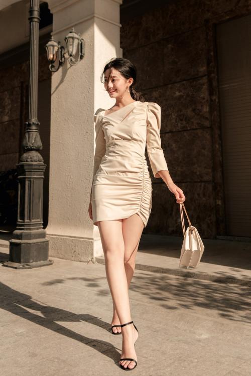 Đầm Kem Thân Xếp Ly Tùng Nhún